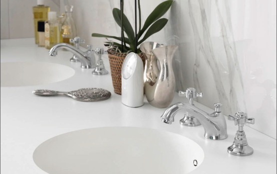 Integrated basin, corian benchtop, moulded bowls