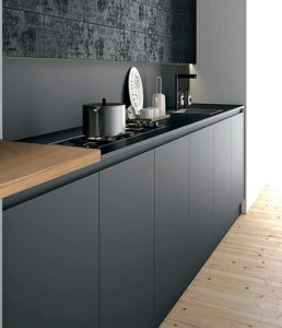 black kitchen, fenix benchtops